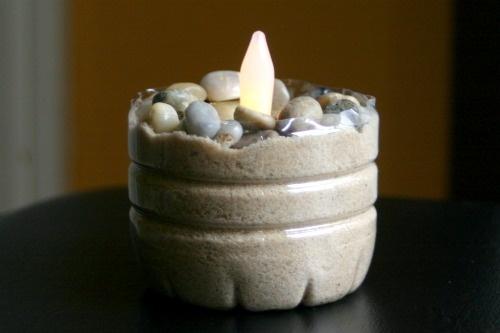 porta candele sabbia e plastica!