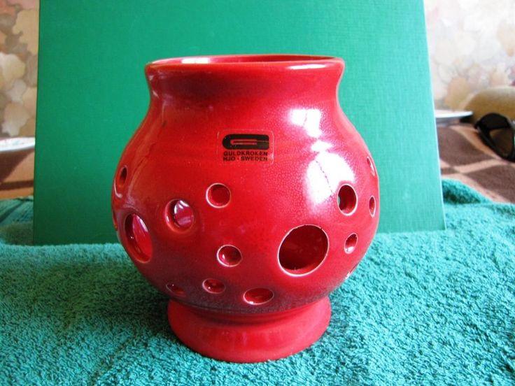 Vintage Sweden Red Vase Candlesticks Guldkroken HJO