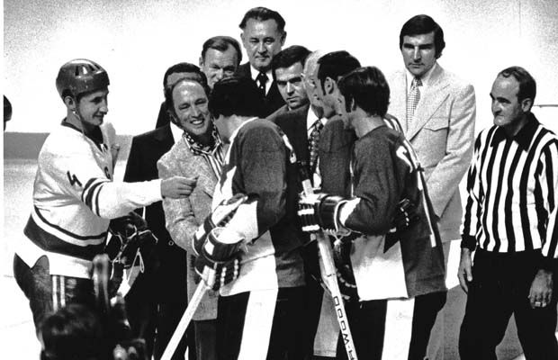Moments before the Montreal opener in 1972 of the eight-game Canada vs. Soviets hockey series that changed the game, prime minister Pierre Trudeau greets team captains. Russia went on to win the first game 7-3.