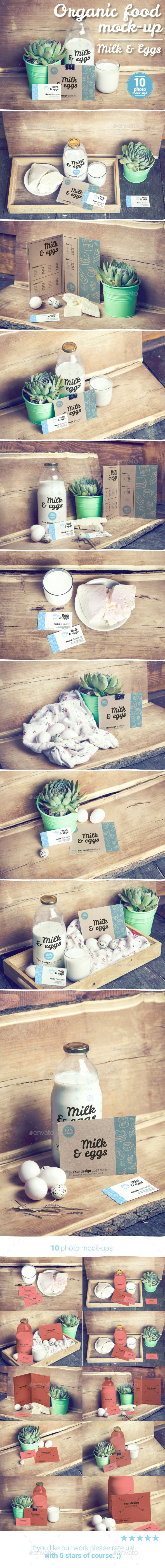 Organic Food Photo Mockup / Milk & Eggs #design #mockups Download: http://graphicriver.net/item/organic-food-photo-mockup-milk-eggs/12650525?ref=ksioks
