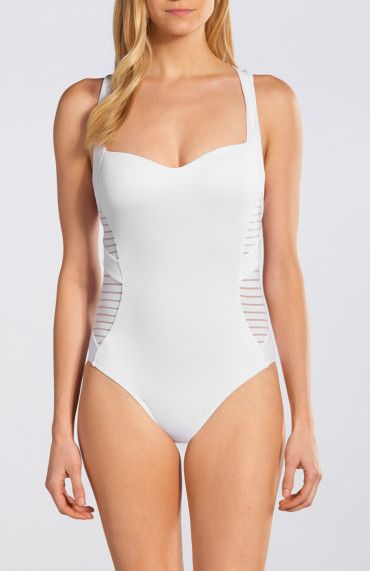 Jets by Jessika Allen Parallels Sheer Stripe Insert Tank One Piece || A chic basic that proves one piece can be as sexy as two. Mesh inserts and molded cups create a smooth and seamless shape to the bust while a low back and sheer stripes enhance an hourglass silhouette.