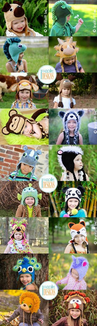 Crochet Animal Hat Patterns by @IraRott® --> https://irarott.com/categories/all: