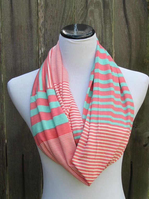 Stripes scarf mint teal pink coral scarf Infinity scarf