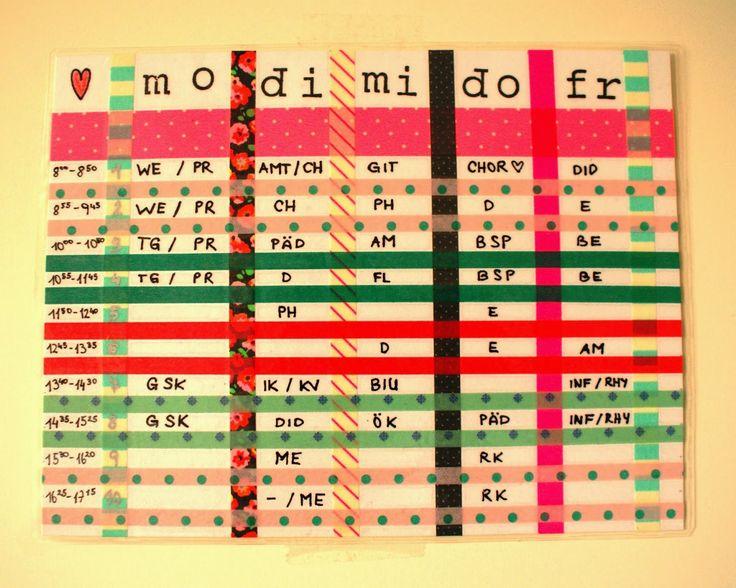 DIY: Stundenplan gestalten mit Washi-Tapes und Stempeln