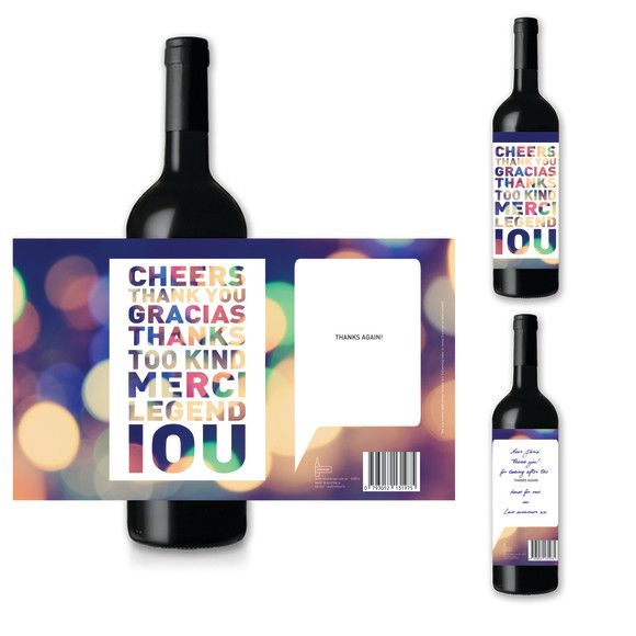 Thank you Gracias Too Kind Merci IOU - Large Greeting card for wine | hardtofind.