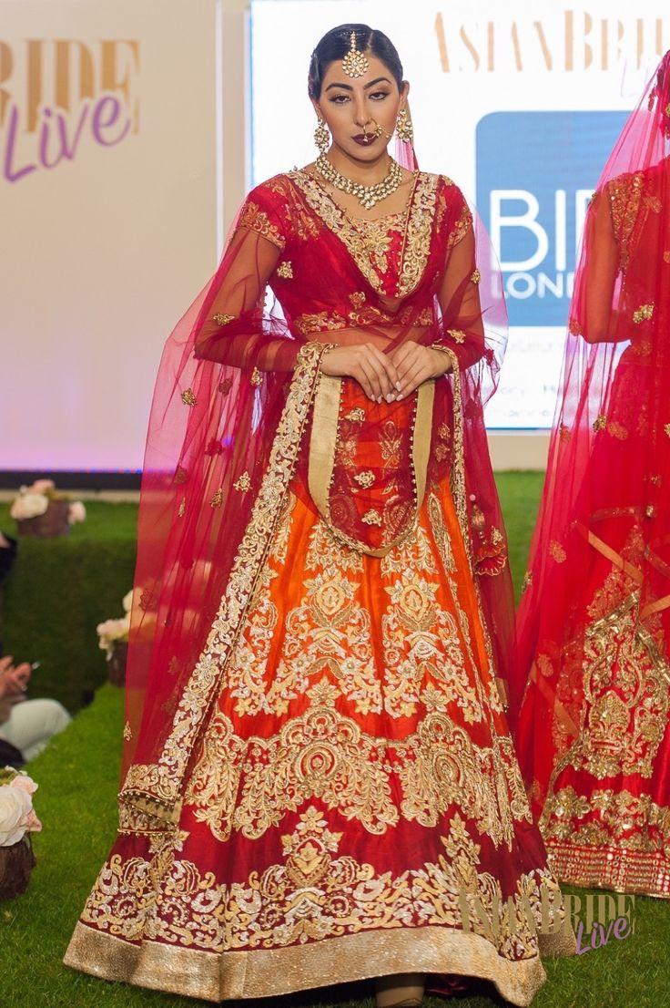 Red Gold Orange Bibi London Bridal Lengha Bibi London -INDIAN-PAKISTANI-WEDDING-FASHION