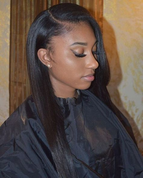 Natural Side Part Sew In W/ Minimum Leave Out