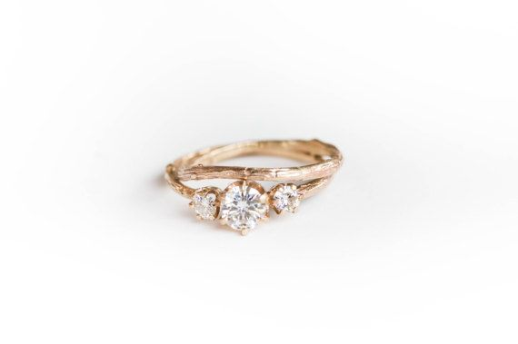 Moissanite and gold twig engagement ring twig nature by Oore