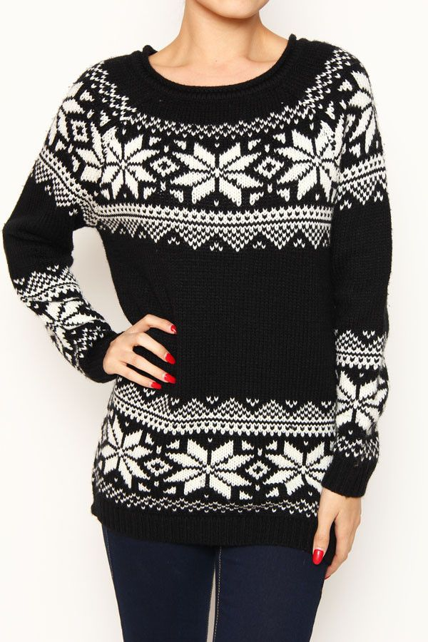 """This open knit sweater is perfect to pair with leggings this holiday season. The snowflake pattern encircles the front and back. Measures 28.5"""" long"""