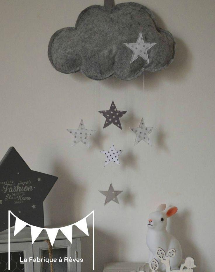 DIY PAR LOU mobile suspension nuage étoiles décoration chambre bébé garçon
