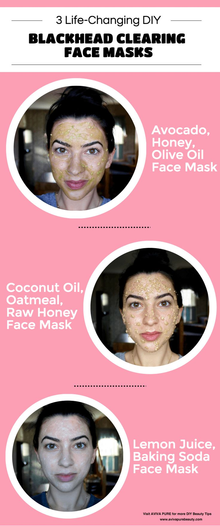Three favorite DIY face masks for treating blackheads. Made with ingredients you can find right in your kitchen! Learn more at Aviva Pure.