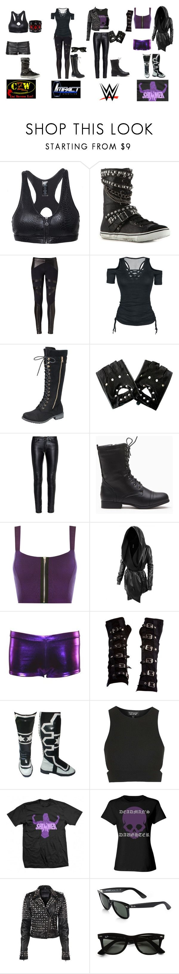 """Meg's Ring Gear"" by shooting-starchild ❤ liked on Polyvore featuring Rock & Candy, David Lerner, Rock Rebel, TNA, Yves Saint Laurent, WWE, WearAll, LE3NO, Poizen Industries and Topshop"