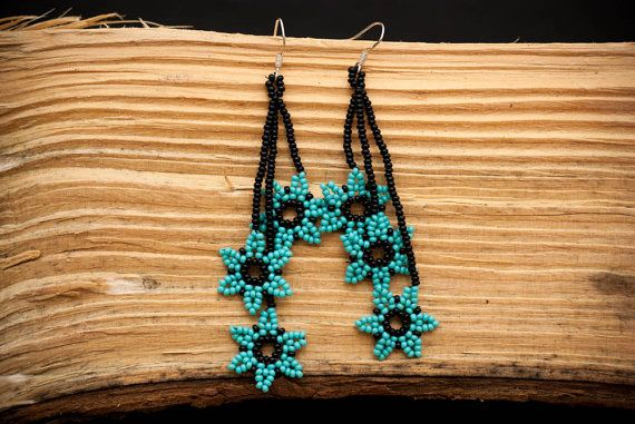 Mexican Huichol Beaded Earrings Florecitas by Peiote on Etsy