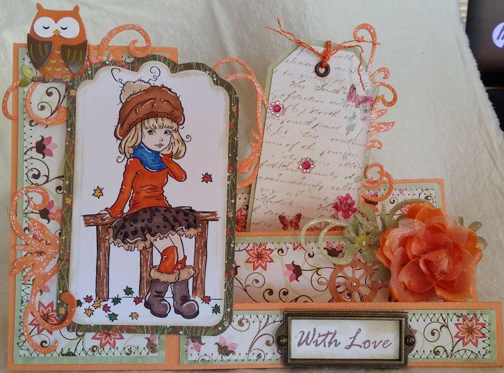 "Challenge 32 - Multi fold card - Paper Shelter digi stamp ""Autumn Attitude""."
