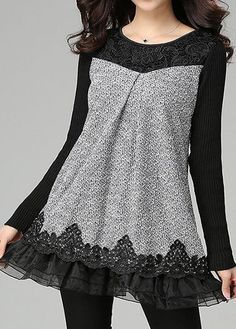 Long Sleeve Lace Panel Grey Blouse on sale only US$35.40 now, buy cheap Long Sleeve Lace Panel Grey Blouse at liligal.com