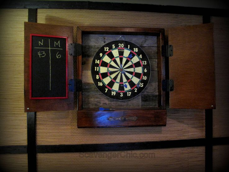 Pallet wood makes a great backing for any dartboards. Because of the rustic nature of the pallet wood holes are diminished. These plans provide a storage area for darts and chalk when the dartboard is not is use. Visit me over at ScavengerChic.com for complete directions.   #RecycledPallet