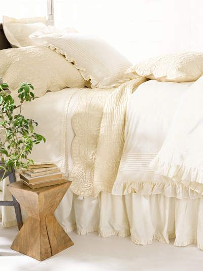 PineCone Hill Classic Ruffle Ivory Bedding
