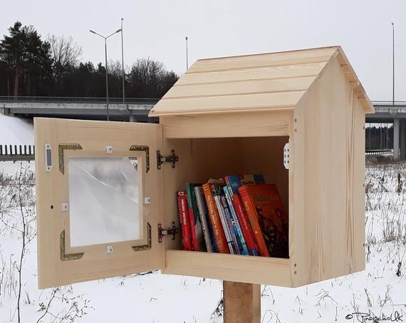 Outdoor Shared Library Lending Neighborhood Sidewalk Loan Etsy Little Free Libraries Street Library Little Library
