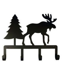 Stay organized with our decorative Wrought Iron Key Holder featuring a Moose and Pine Tree silhouette. Perfect for the kitchen, den or mud room with four hooks for storing a variety of keys. Finely crafted in central New York state, it is coated in one of the most long-lasting finishes available - a flat black baked-on powder coated finish that will last for many years. Rust resistant and lead free. http://ceardai.com/products/moose-pine-key-holder