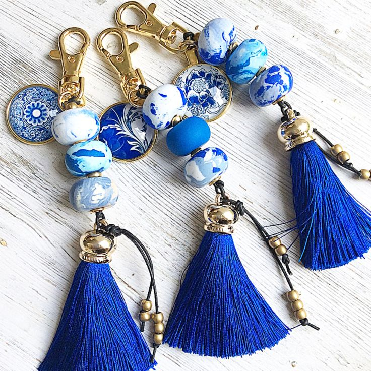 Lush Royal Blue Keychains from Ruby Blue Jewels etsy store