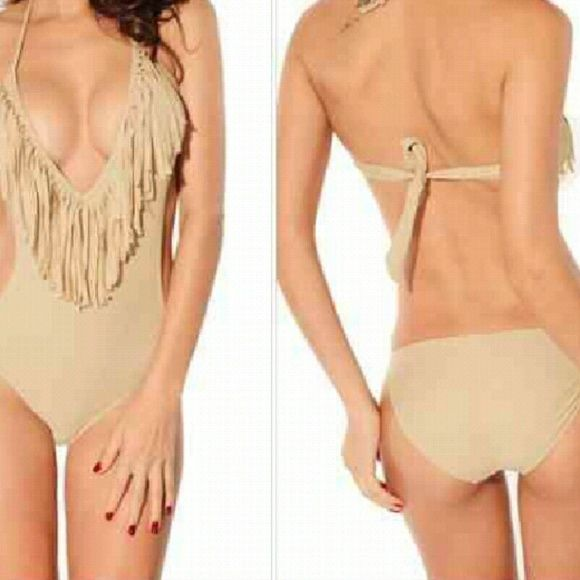 SATURDAY SALE!!!beige one piece It's really beautiful just didn't look good on me Swim One Pieces