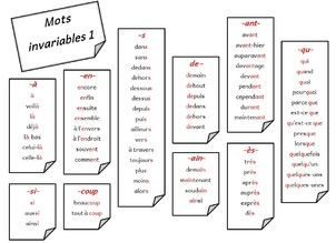 Mots invariables classés par type de difficulté orthographique