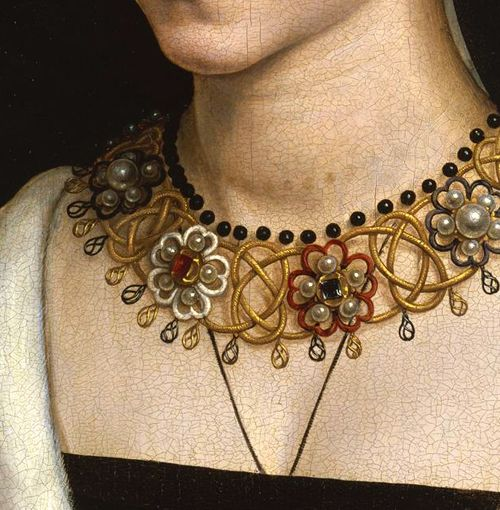 Detail, 'Maria Portinari (Maria Maddalena Baroncelli, 1456–?)' (probably 1470) by Hans Memling (active 1465-1494). via this beadiful world