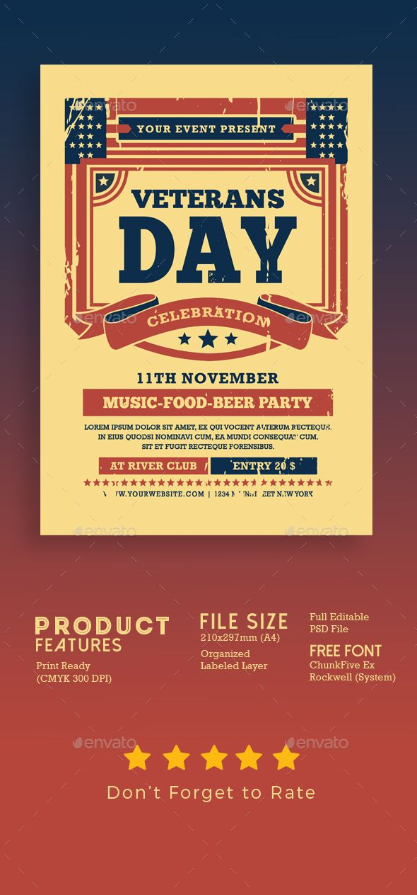 veterans day flyer template psd well organized layer full
