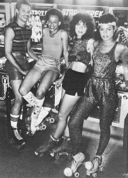 At the roller disco, 1970s.
