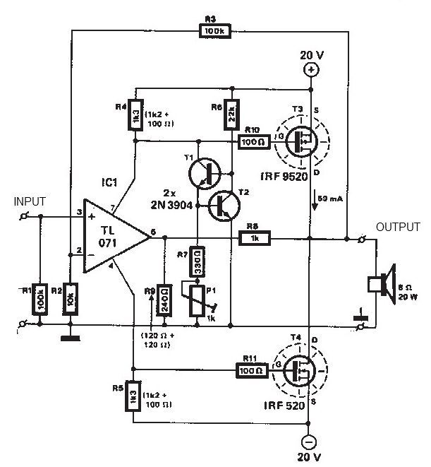 20 + 20 watts MOSFET audio amplifier circuit diagram