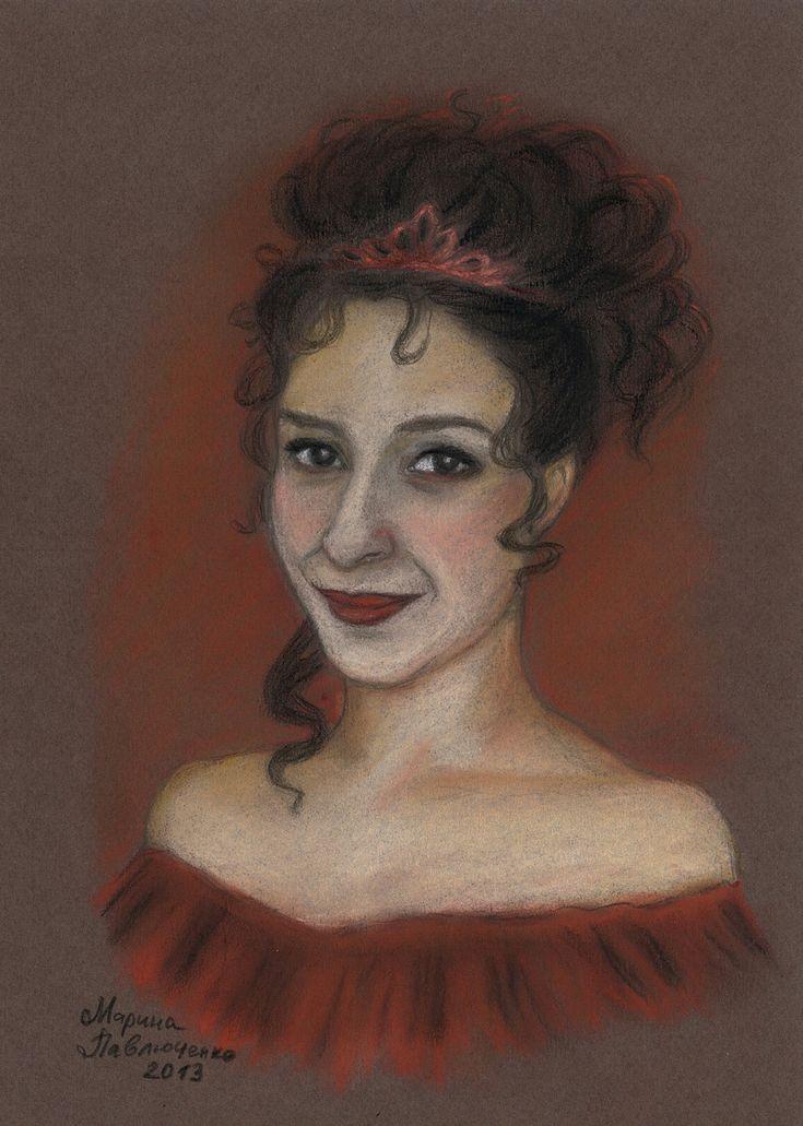 Sternkind. Mercedesz Csampai as Sarah Chagal in the musical Tanz der Vampire. Pastel, A4