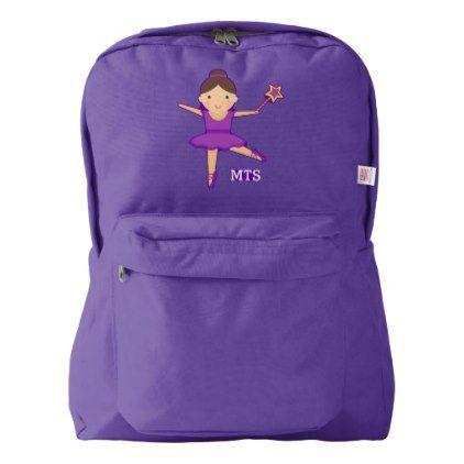 #monogram - #Cute Ballerina Dancer Purple Wand & Monogram American Apparel Backpack