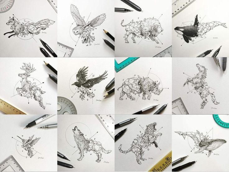 """""""Each piece is my take on breaking away from societal norms and just be who we truly are as unique individuals."""" Geometric Animals"""