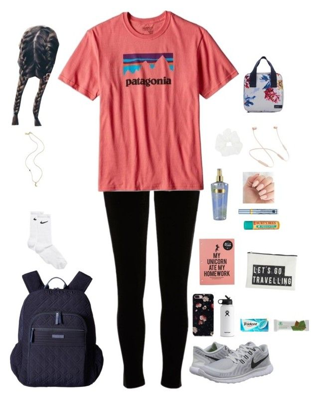 """School"" by kansas-girl0 on Polyvore featuring River Island, Patagonia, NIKE, Vera Bradley, Hydro Flask, Arbonne, House Doctor, Victoria's Secret, Burt's Bees and Estée Lauder"