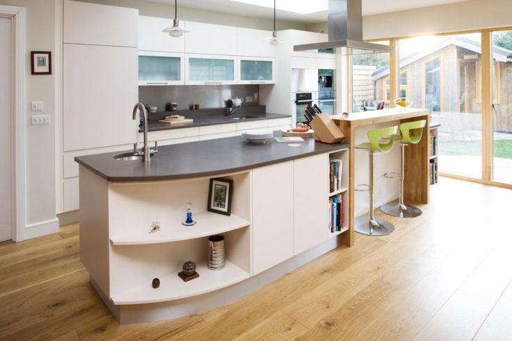 Interior:Awesome Scandinavian Interior Design Kitchen With Wood Kitchen Bar And Green Bar Stools Also Kitchen Island With Sink And Faucets On Gray Countertops Kitchen Cabinets Wood Flooring And Natural Lighting Ideas Amazing Scandinavian Interior Design Kitchen for Your Best Kitchen