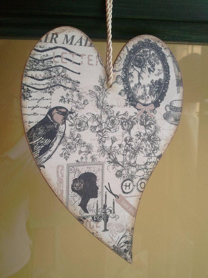 Francia szív, vintage stílusban
