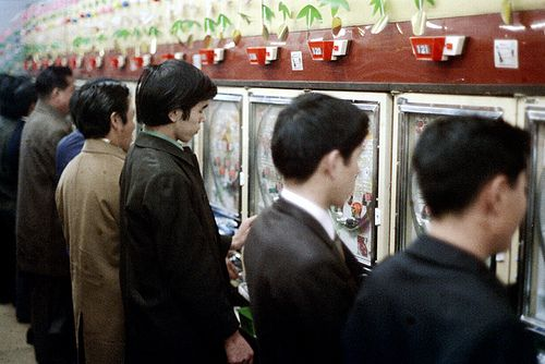 Pachislo in the pachinko, Tokyo, Japan, 1972, photograph by Nick DeWolf.