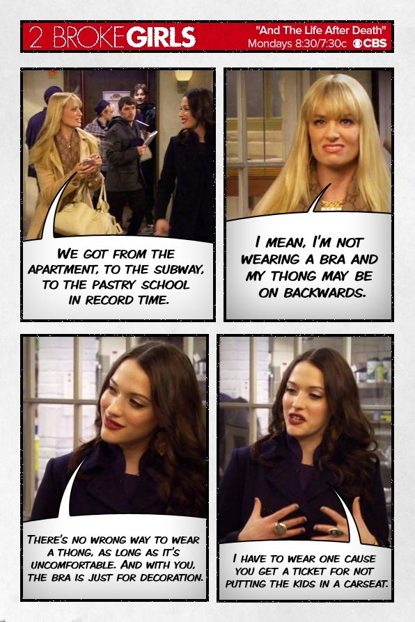 Max  Caroline debate undergarments ~ 2 Broke Girls ~ Season 3, Episode 11 - And the Life After Death ~ Quotes, Comic