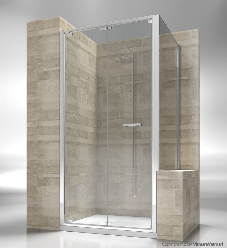 Shower enclosure with folding door for shower tray positioned next to a bath tub or a low wall. Shower enclosures Junior by @vismaravetro | GN+GP