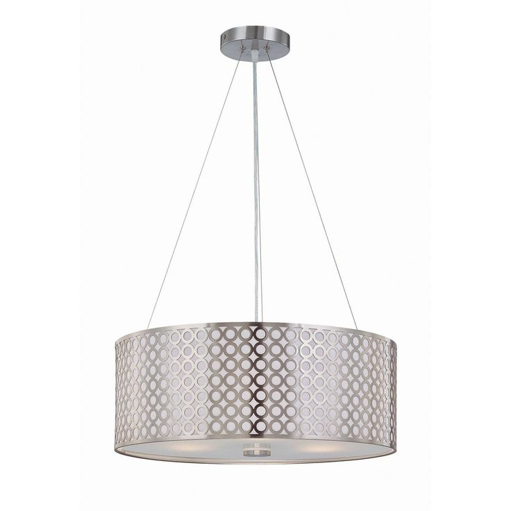 Lite Source LS-19519PS 3 Light Netto Large Pendant, Polished Steel