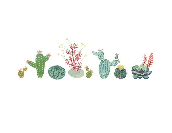 Cactus Row art print Succulent cacti painting by courtneyoquist, $9.00