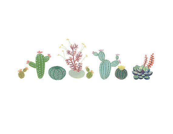 Imprimir Arte de fila de cactus suculentas por courtneyoquist