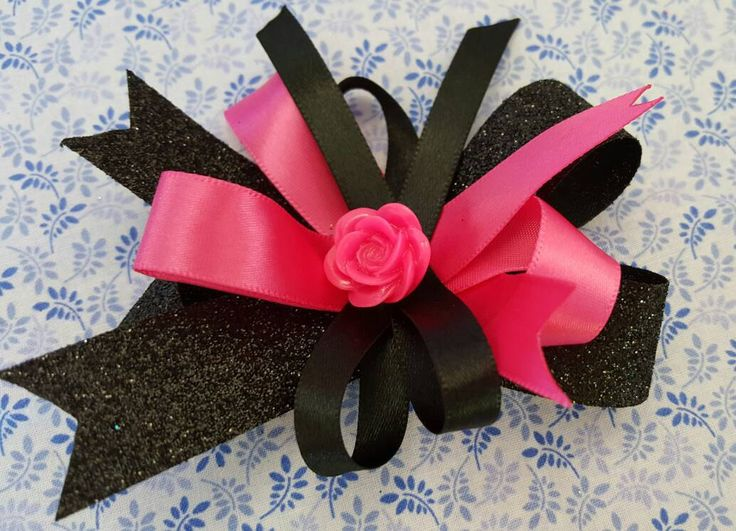 Pair of Pink and Black Sparkly Hair Bows, Clips, Barrettes, Glitter Hair Bows, Girls Hair Bows, Unique Hair Bows, Dance Hair Bows,  Hairbows by LudicBows on Etsy