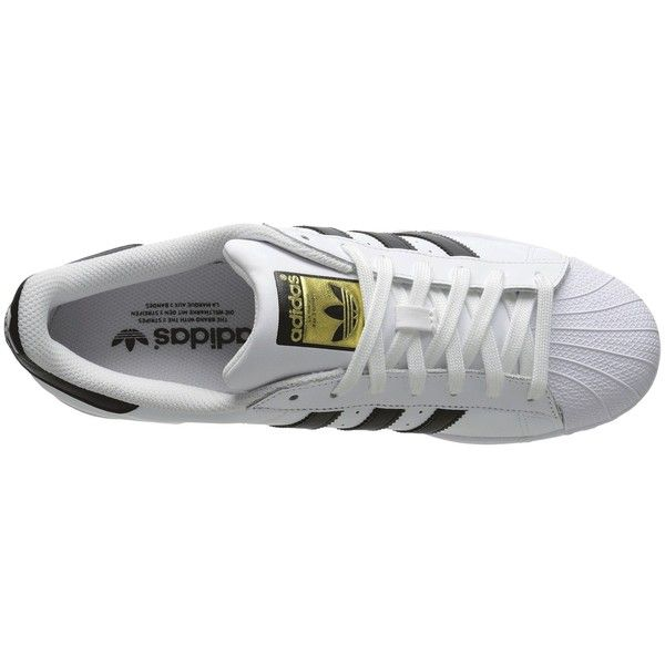 adidas Originals Superstar 2 (White/Black/White 2) Classic Shoes ($80) ❤ liked on Polyvore featuring shoes, sneakers, white trainers, white and black shoes, grip shoes, black and white trainers and white black shoes