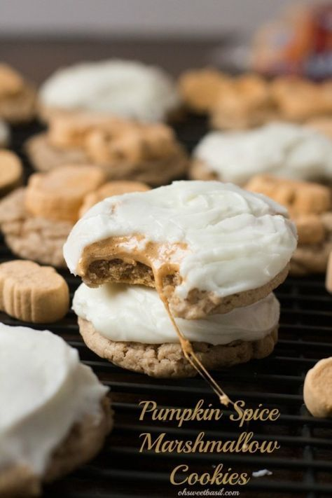 Pumpkin Spice Marshmallow #cookies with only 4 ingredients and a cream cheese frosting! ohsweetbasil.com-5