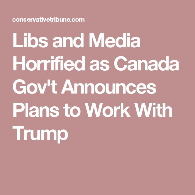Libs and Media Horrified as Canada Gov't Announces Plans to Work With Trump