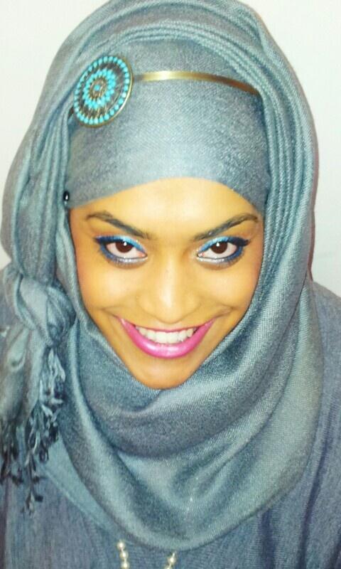 Grey hijab and blue eyes