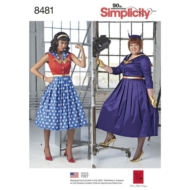 Add some fun and character to the rockabilly look! Misses' and Women's dress features sailor collar and full skirt. Pattern also includes the belt and applique. Karen Fleisch Designs for Simplicity sewing patterns.
