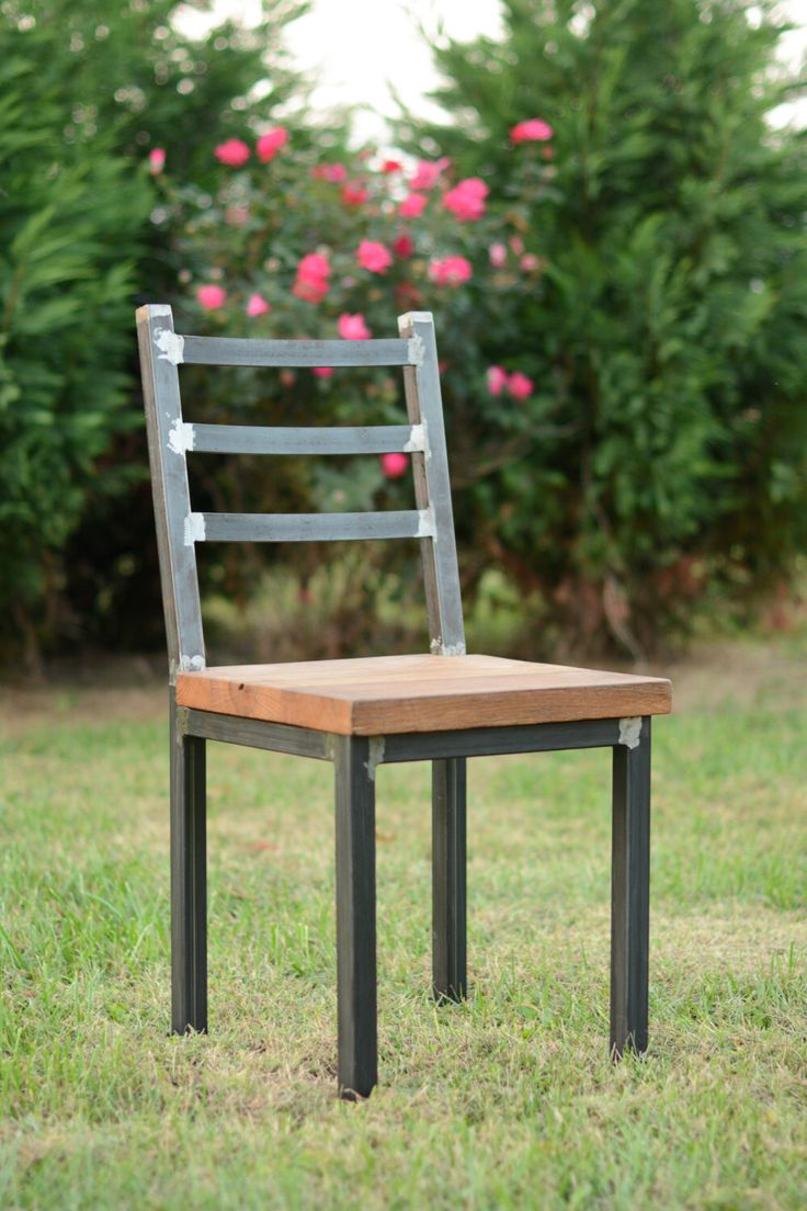 Wood and steel dining chair rustic industrial for Repurposed metal furniture