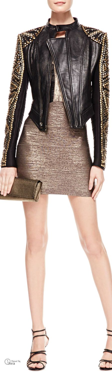 Herve Leger ● Studded  Leather Jacket & Two-Tone Metallic Bandage Dress